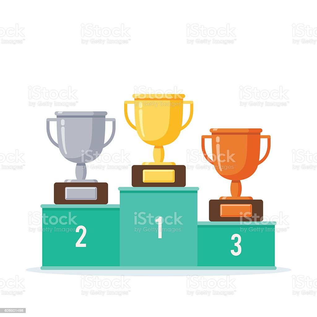 Winners podium with cups vector art illustration