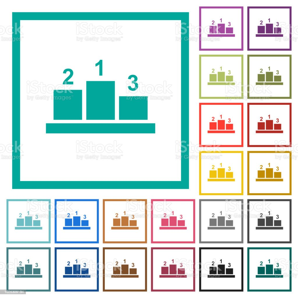 Winners Podium With Outside Numbers Flat Color Icons With Quadrant ...