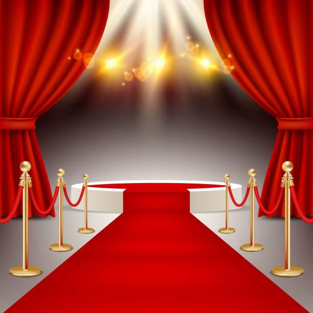 gewinner-podium mit roten teppich realistische vektorgrafik - strickideen stock-grafiken, -clipart, -cartoons und -symbole