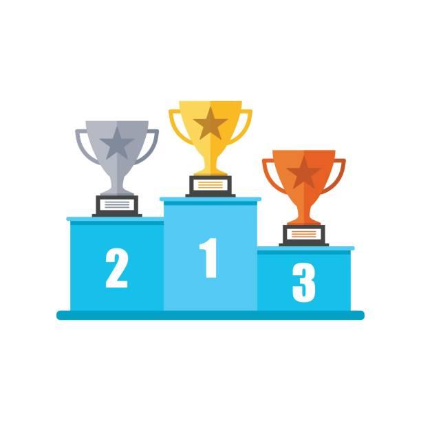 illustrations, cliparts, dessins animés et icônes de podium de gagnants avec icône trophée dans le style plat. illustration de piédestal sur fond isolé blanc. or, argent et bronze award concept signe. - tasse flat