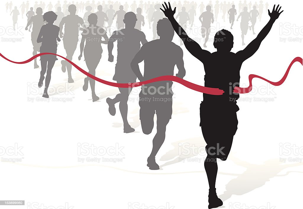 Winning Athlete ahead of other marathon runners. - Royalty-free Activity stock vector