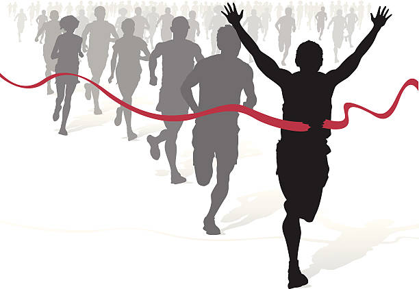 Winning Athlete ahead of other marathon runners. vector art illustration