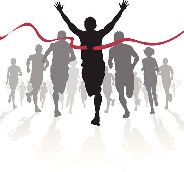Winning Athlete crosses the finish line vector art illustration