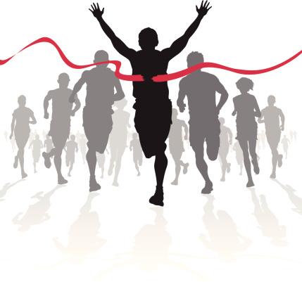 Winning Athlete Crosses The Finish Line Stock Illustration - Download Image Now