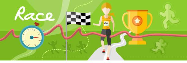 preisgekrönte athleten überquert die ziellinie - langstreckenlauf stock-grafiken, -clipart, -cartoons und -symbole