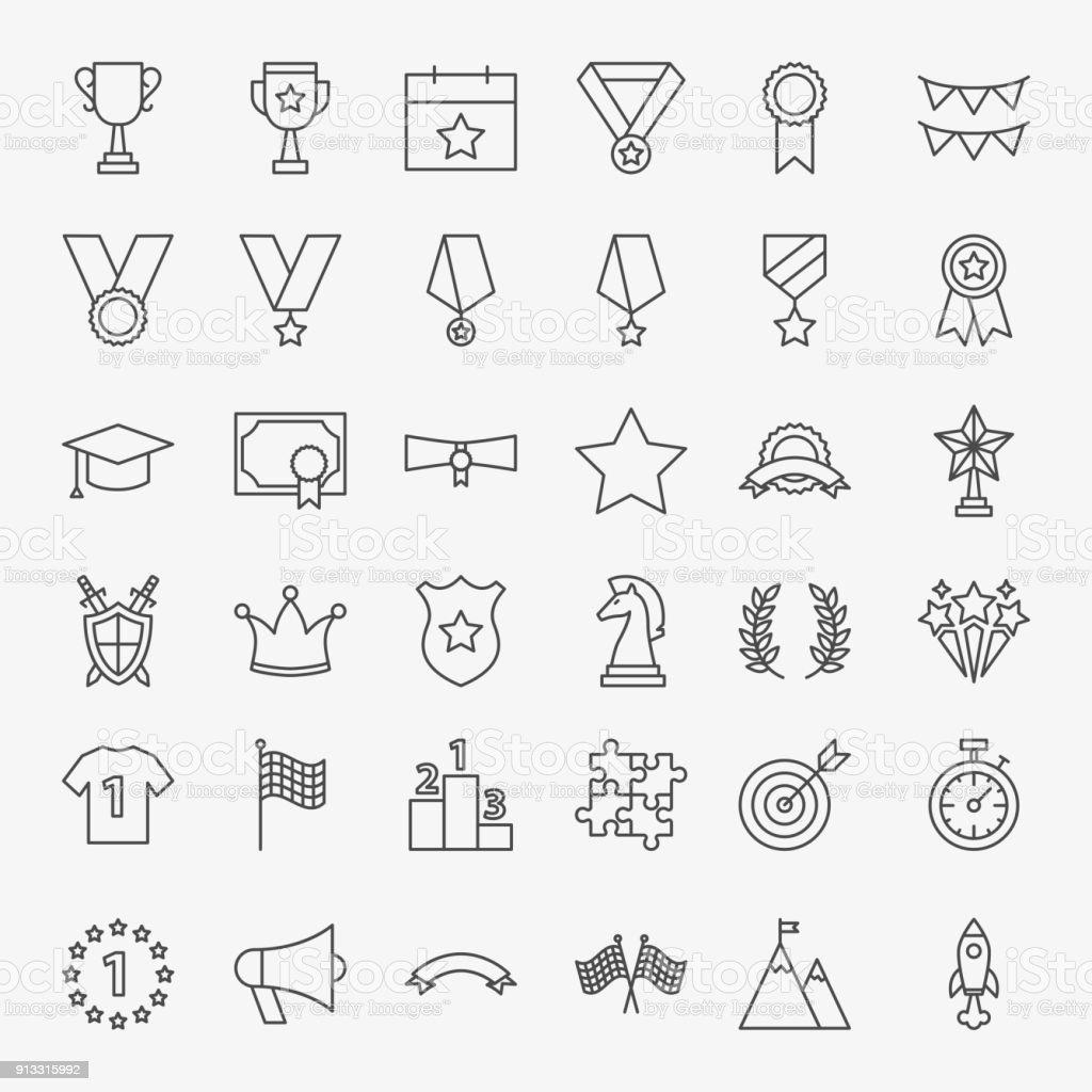 Winning Award Line Icons Set vector art illustration