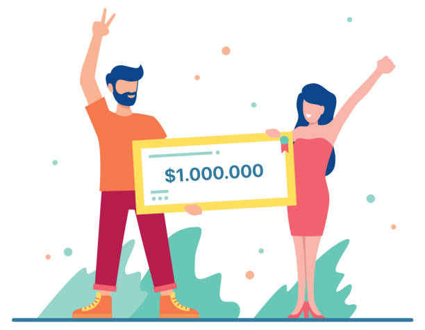 Winning Big Money Flat design illustration with male and female character holding a bank check for a million dollars. young couple stock illustrations