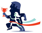 vector illustration of winning couple running with trophy cup
