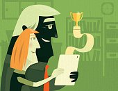 vector illustration of angry winning couple with trophy…