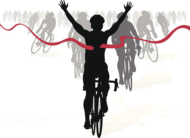 Winning Cyclist crosses the finish line in a race vector art illustration