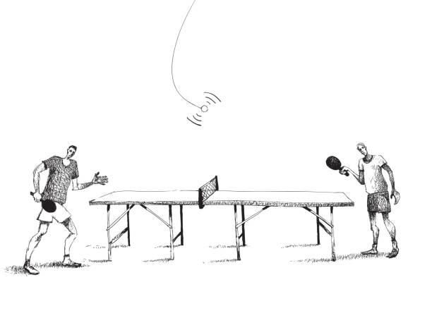 Winning game Ping pong ping pong table stock illustrations