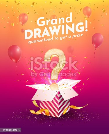 istock Winning gifts lottery vector illustration. Grand drawing. Open textured box with golden question mark and confetti explosion off and on bright background. 1253493519