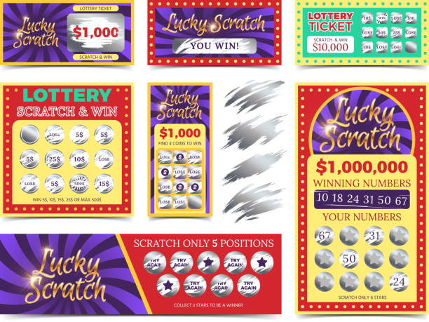 Winning lotto tickets and scratch cards vector set Winning lotto tickets and scratch cards vector set. Win game in lottery illustration lottery stock illustrations