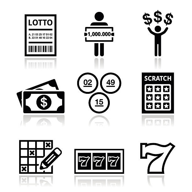 Winning money on lottery, slot machine icons set Lotto, scratch card vector icons set isolated on white lottery stock illustrations