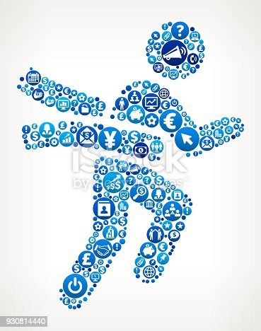 Winning Race  Business and Finance Blue Icon Pattern. The round vector buttons completely fill the outlines of the main shape and form a seamless pattern, Each button has a white business and finance icon on it. The buttons vary in size and in the shade of the blue color. The background of this vector illustration is white. The icon set includes classic finance and business icons such as business people, images of various money and financial items as well as typical technology and communication symbols.