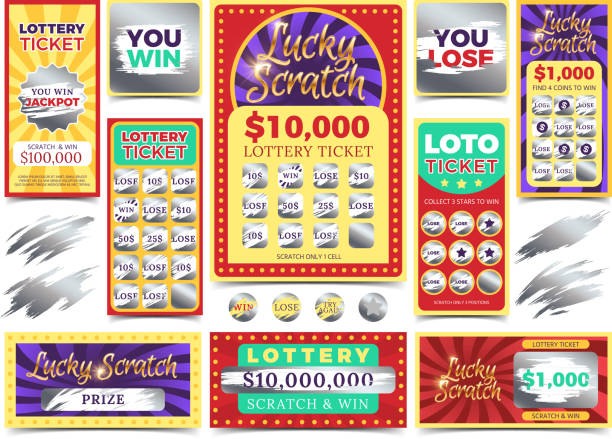 Winning scratching lottery vector tickets Winning scratching lottery vector tickets. Win ticket lottery, game prize card illustration lottery stock illustrations