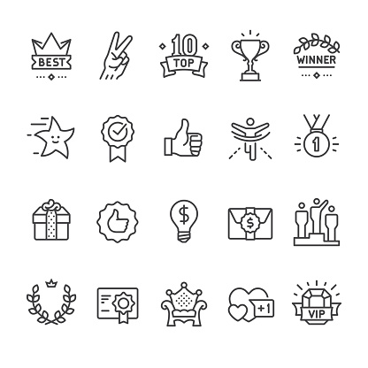 Winning, Success and Achievement vector icon set.