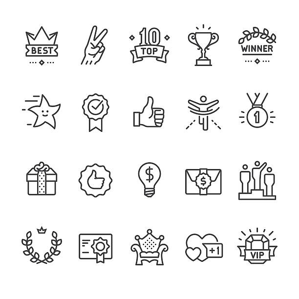 Winning, Success and Achievement vector icons Winning, Success and Achievement vector icon set. incentive stock illustrations