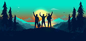 Exited men on a journey reaching their goals. Success, winners, adventure and team building concept. Vector illustration.