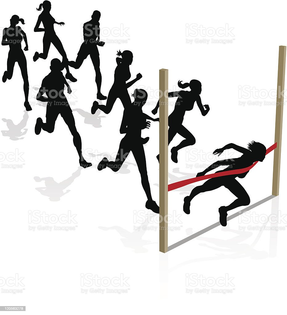 Winning the race vector art illustration