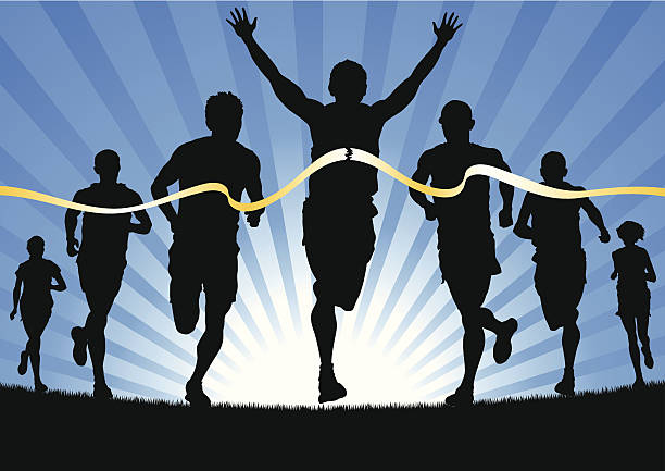 sieger das rennen - langstreckenlauf stock-grafiken, -clipart, -cartoons und -symbole