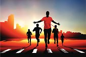Vector of a silhouetted runner crossing the finish line in a city race.