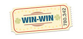 Winning ticket, raffle for win win situation. Single strip ticket with lucky clover, stars and winning number. Isolated vector on white background.