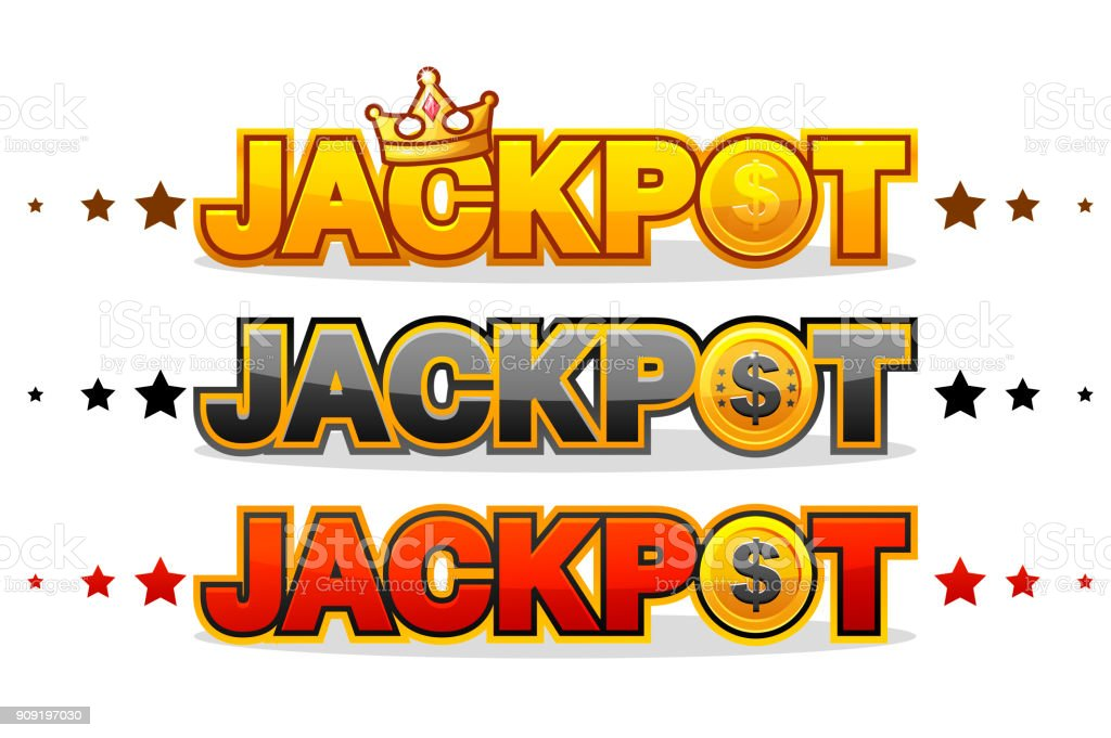 Jackpot Wins Money Gamble Winner Text Shining Symbol Isolated On
