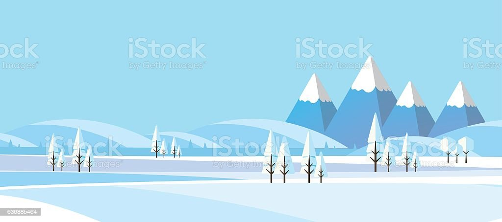 Winter Abstract Landscape in Flat Design Style. vector art illustration