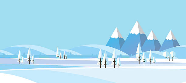 Winter Abstract Landscape in Flat Design Style. Winter Abstract Landscape in Flat DEsign Style. Vector Illustration. north pole stock illustrations