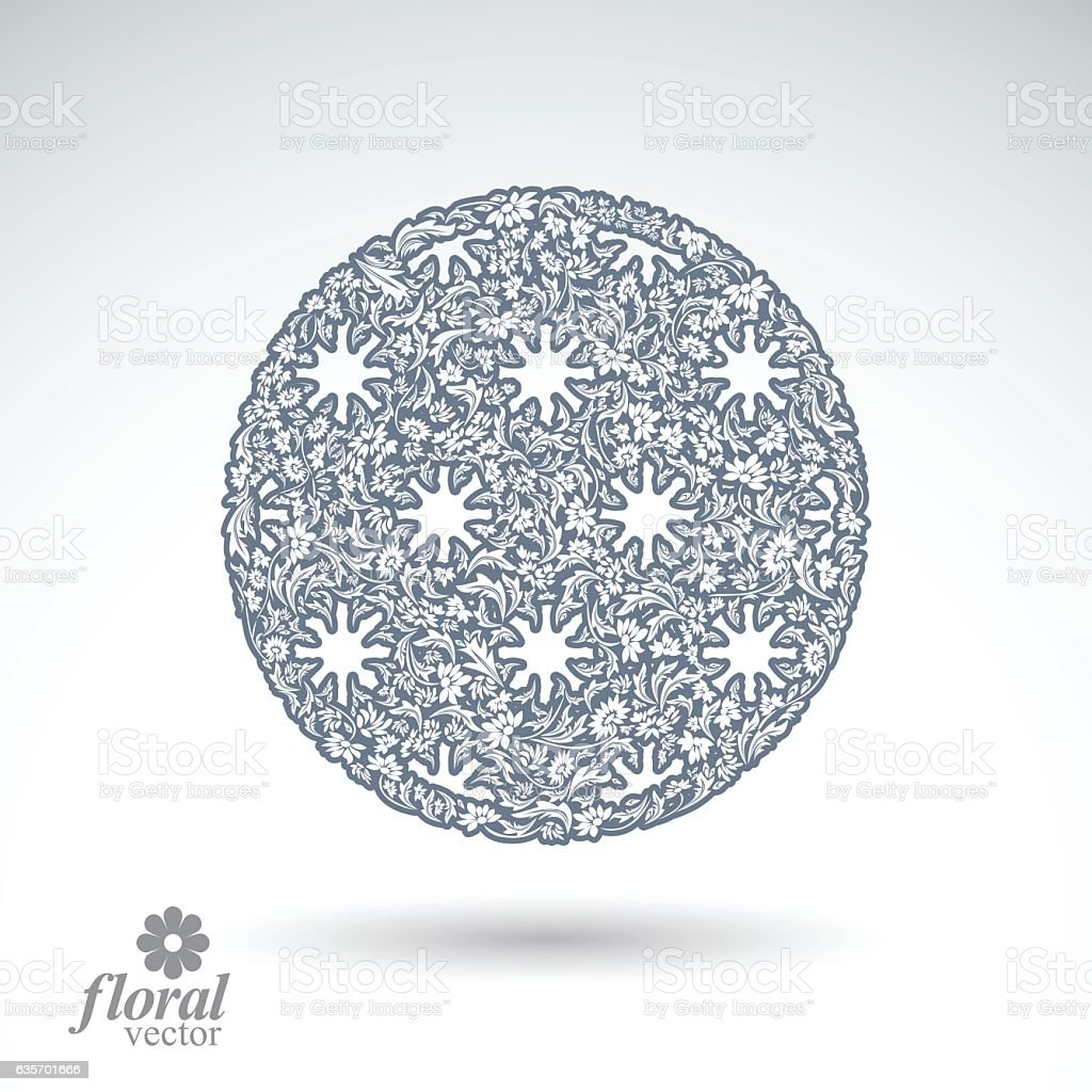 Winter abstract round object with beautiful snowflakes, vector royalty-free winter abstract round object with beautiful snowflakes vector stock vector art & more images of abstract