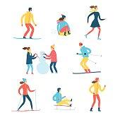 Winter activities cartoon set