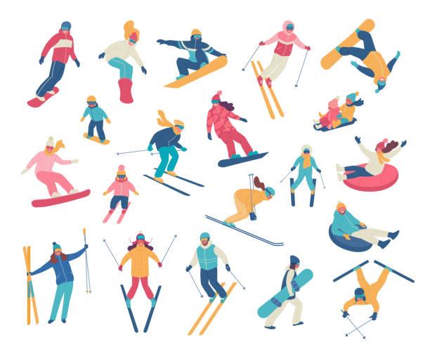 illustrazioni stock, clip art, cartoni animati e icone di tendenza di winter activities. - sci