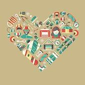 Winter Activity Flat Icons Heart Shape