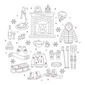 Winter activity icons hand drawn doodle vector illustration.