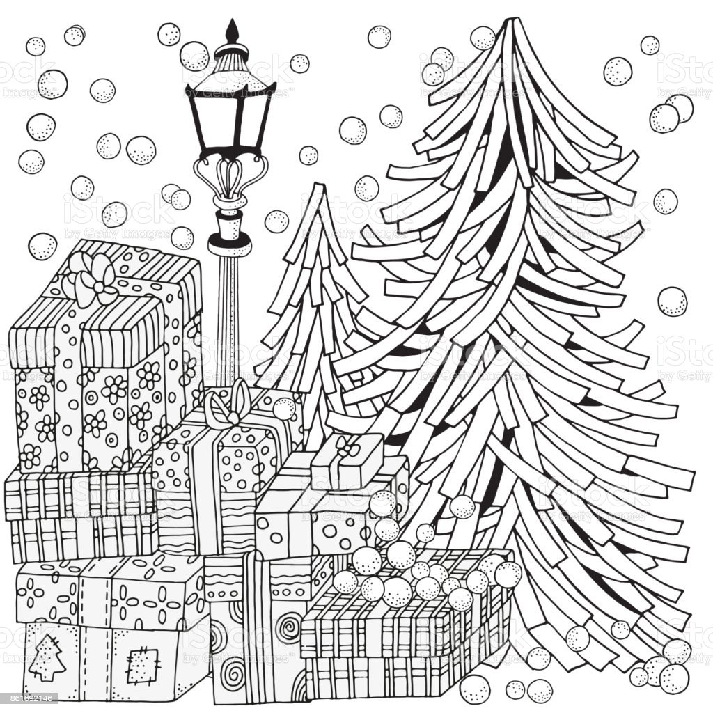 Adult Coloring Book Page Lantern Shines At Night Christmas Trees And Gifts