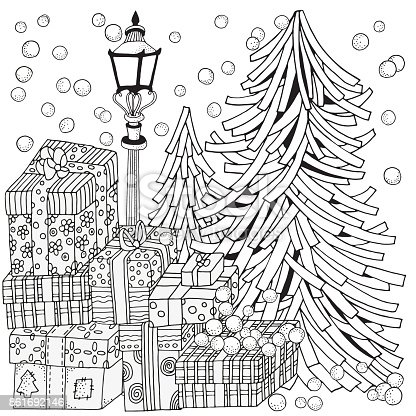 Winter Adult Coloring Book Page Lantern Shines At Night Christmas Trees And Gifts Xmas Holiday Black White Stock Vector Art More Images