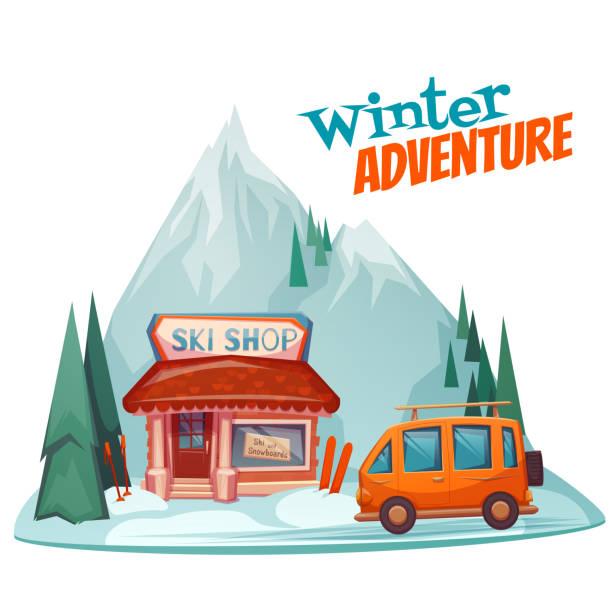 illustrazioni stock, clip art, cartoni animati e icone di tendenza di avventura invernale poster con sci shop. illustrazione vettoriale - negozio sci
