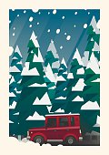 Winter snowfall off-road vehicle adventure