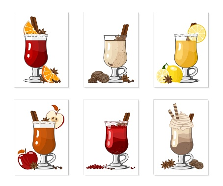 Winter alcoholic hot drinks and cocktails - mulled wine, grog, eggnog, ginger ale, hot buttered rum, punch, mulled apple cider, chocolate with liqueur on white background, vector illustration