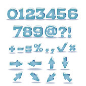 Winter alphabet with snow cap effect. Numbers, symbols and arrows. Vector illustration, transparent shadow