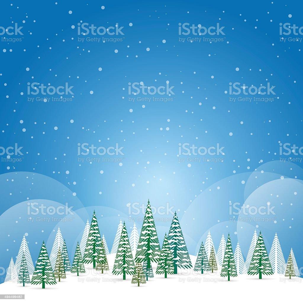 Winter Weihnachten Landschaft Mit Schnee Und Bäume Vektor ...
