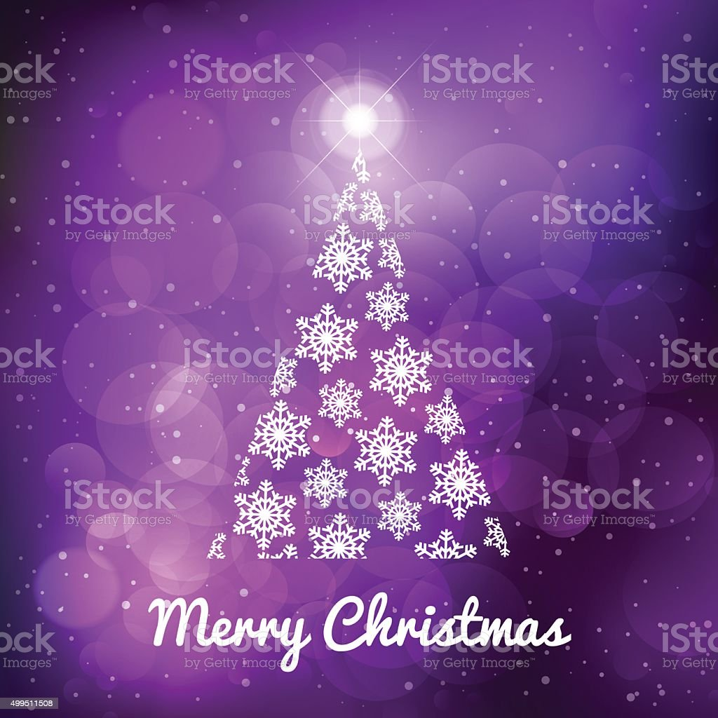 Winter and christmas tree purple background with stars vector art illustration