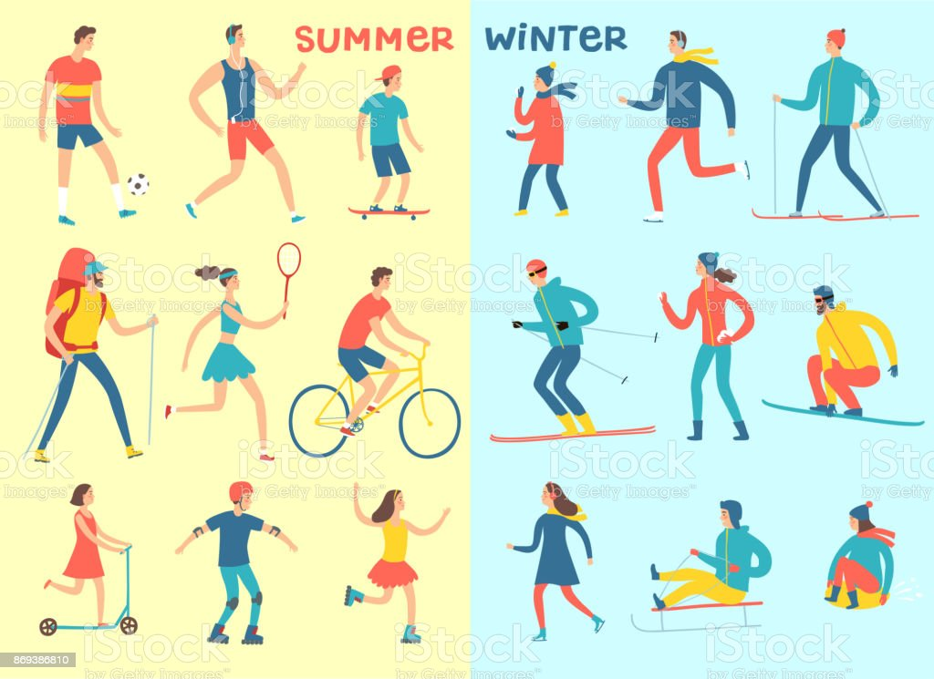 Winter and summer activities cartoon set vector art illustration