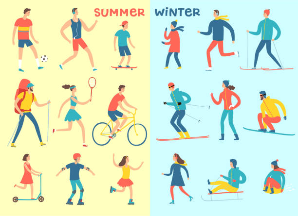 illustrazioni stock, clip art, cartoni animati e icone di tendenza di winter and summer activities cartoon set - negozio sci
