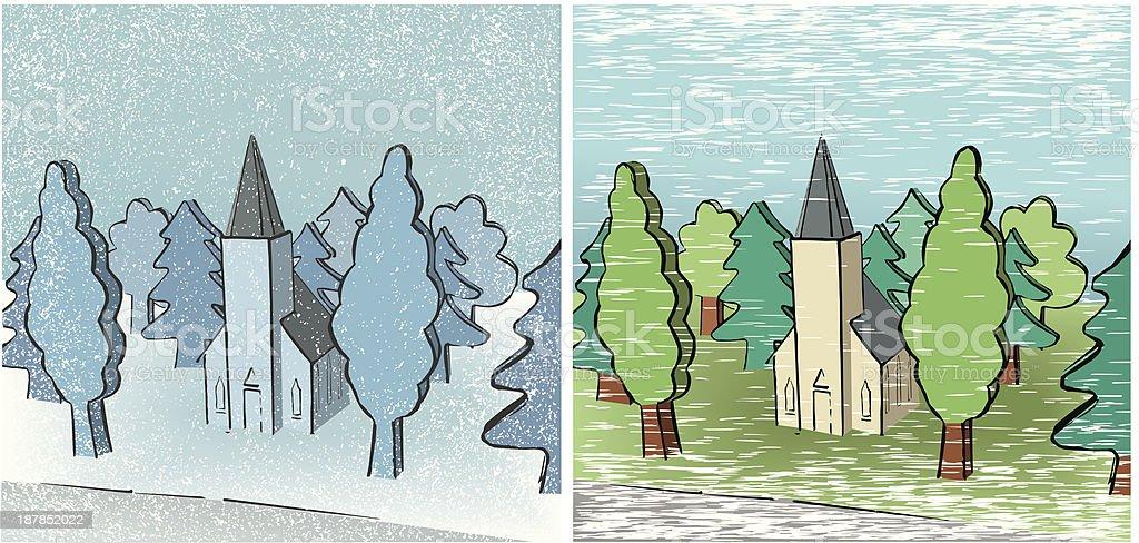 Winter and Summer in Toyland vector art illustration