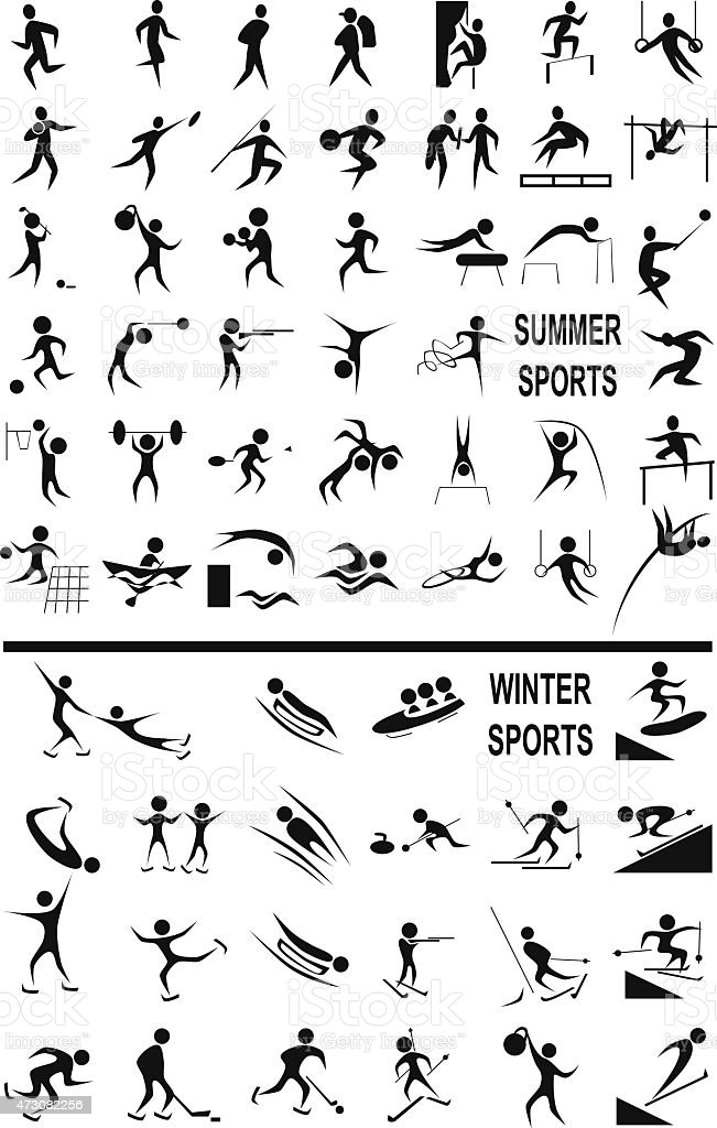 winter and summer sports on the white vector art illustration