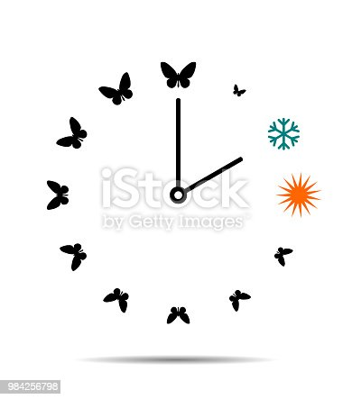 905623256 istock photo Winter and summer time, clock with butterflies 984256798