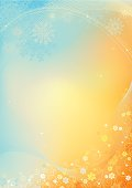 Bright background with snowflakes and flowers. For background was used gradient mesh. All objects are grouped for easy editing. Large jpeg included.