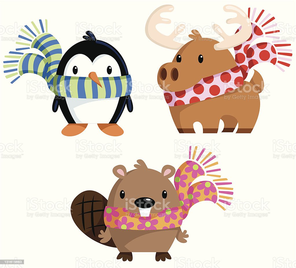 Winter Animals in Scarves vector art illustration